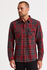 Bowery LS Flannel Men Brixton Black Burgundy