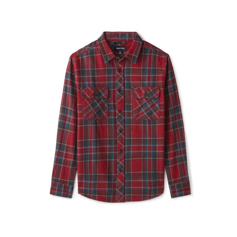 Brixton Bowery LS Flannel Men Black Burgundy