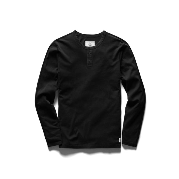 Ringspun Long Sleeve Henley T-Shirt Men Reigning Champ Black