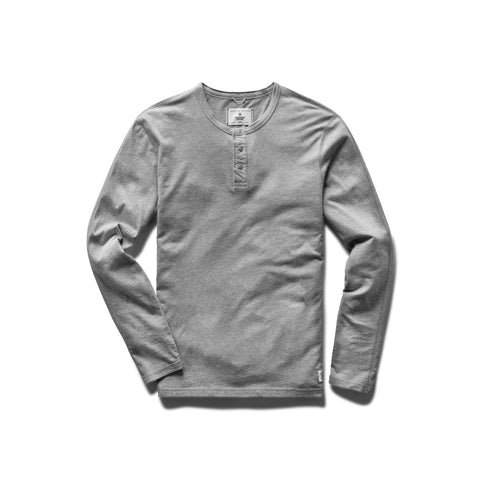Reigning Champ Ringspun Long Sleeve Henley T-Shirt Men H. Grey