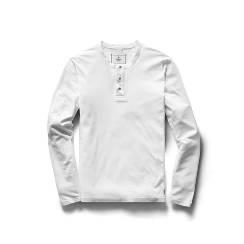 Reigning Champ Ringspun Long Sleeve Henley T-Shirt Men White