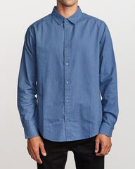Crushed Washed Long Sleeve Men RVCA China Blue