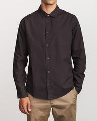 Crushed Washed Long Sleeve Men RVCA Pirate Black