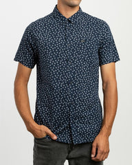 Fiscus Floral Short Sleeve Men RVCA Federal Blue
