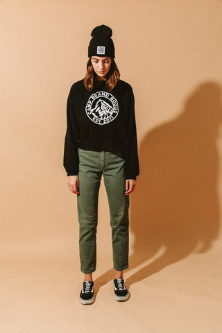 Camp Brand Goods Heritage Crest Boxy Sweatshirt Women Black