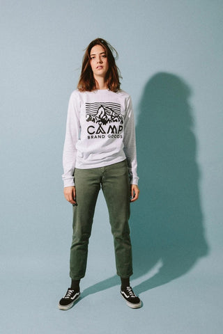 Camp Brand Goods Heritage Logo Long Sleeve T-Shirt Women Athletic Grey