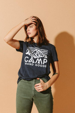 Heritage Logo Relaxed T-Shirt Women Camp Brand Goods Navy