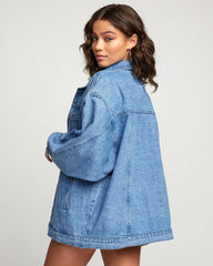 RVCA Lounger Denim Jacket Women Worn Out Blue