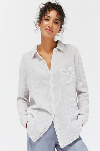 LACAUSA Luxe Nash Button Up Women Ice