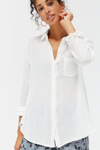 LACAUSA Luxe Nash Button Up Women Whitewash