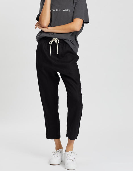 New Anya Linen Pant Assembly Label Wm Black