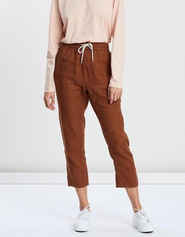 New Anya Linen Pant Assembly Label Wm Terracotta