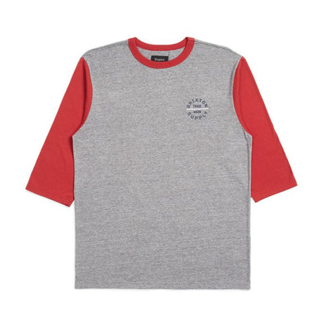 Brixton Oath V 3/4 Tee Men H.Grey/Lava Red