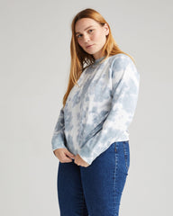 Richer Poorer Recycled Fleece Sweatshirt Women Blue Mirage Tie-Dye