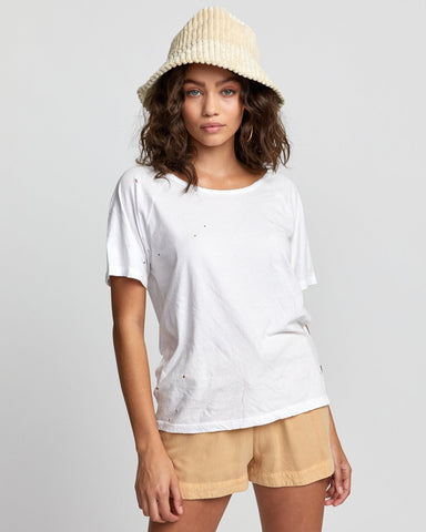 Wyatt Tee Women RVCA Worn Out White