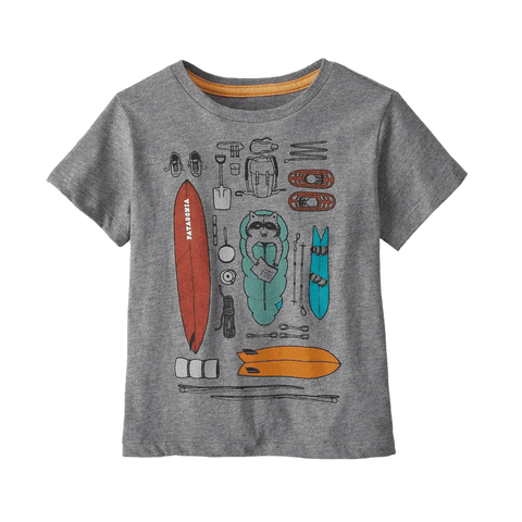 Graphic Organic Tee Patagonia Kids Gravel Heather