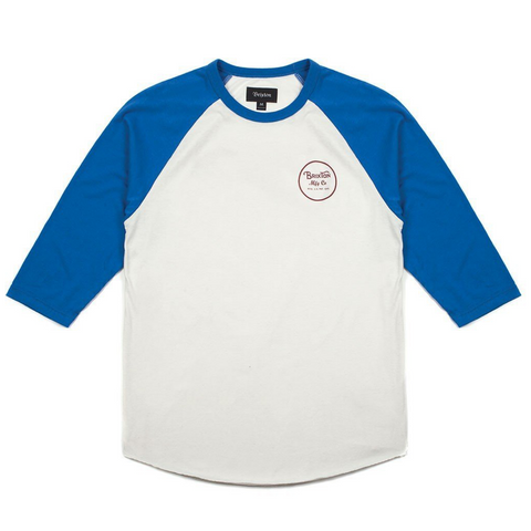Brixton Wheeler 3/4 Tee Men White/Royal
