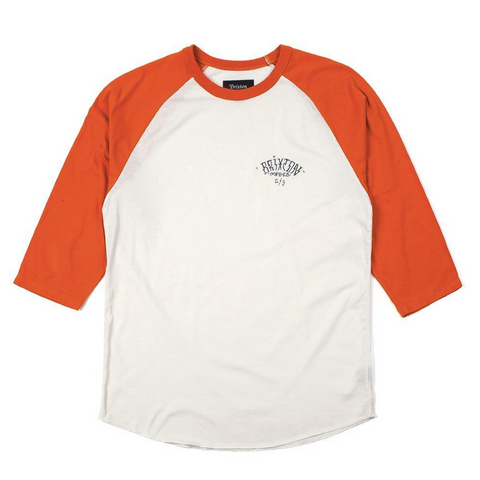 Brixton Borrego 3/4 Tee Men White/Burnt Orange