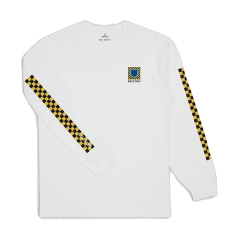 Brixton Beta Checkers LS Standard Tee Men White