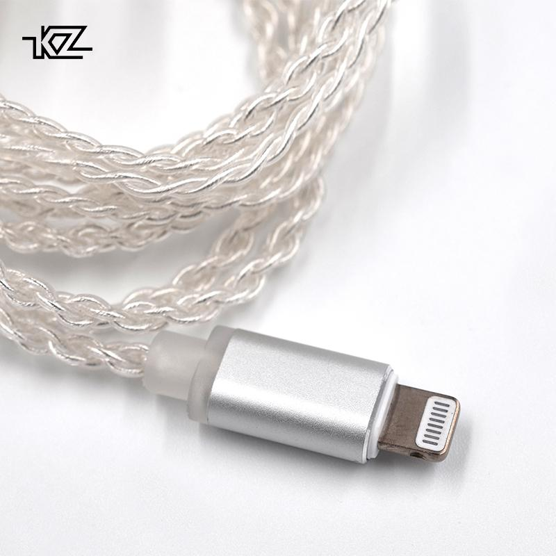 Apos Audio KZ Cable KZ Silver Plated Upgrade Lightning Cable