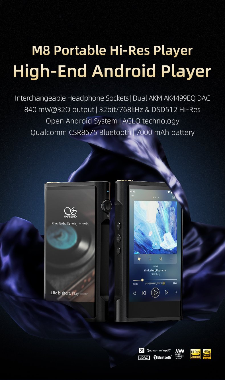 Apos Audio Shanling DAP (Digital Audio Player) Shanling M8 Digital Audio Player (DAP)