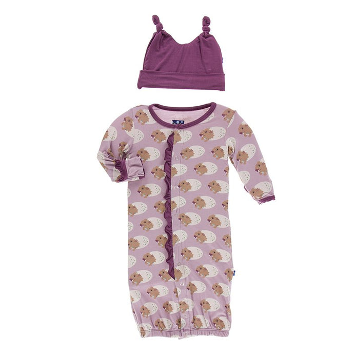 Kickee Pants Print Ruffle Layette Gown Converter & Knot Hat Set in Sweet Pea Diictodon
