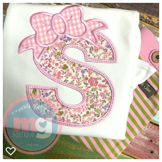 Applique Letter with Bow Shirt