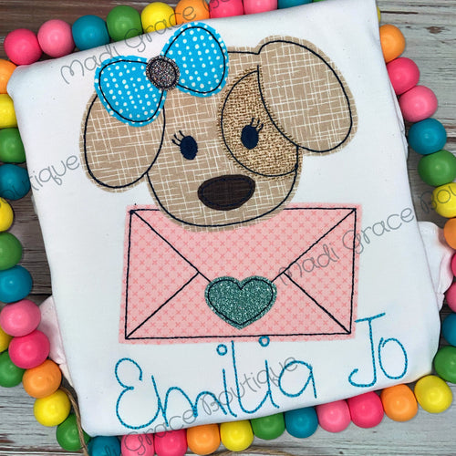Puppy with Bow and Heart Mail Shirt