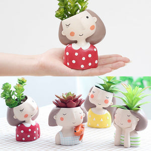 Cute tabletop female bust vase. Give it personality by adding your choice of plant.