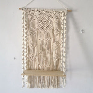 Beautiful 100 percent cotton macrame plant stand hanging in a geometric pattern.