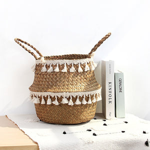 Woven foldable storage basket for plants, toys or stoging anything. Easy way to tidy up space.