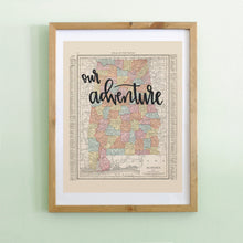 Load image into Gallery viewer, Vintage Alabama State Map Print