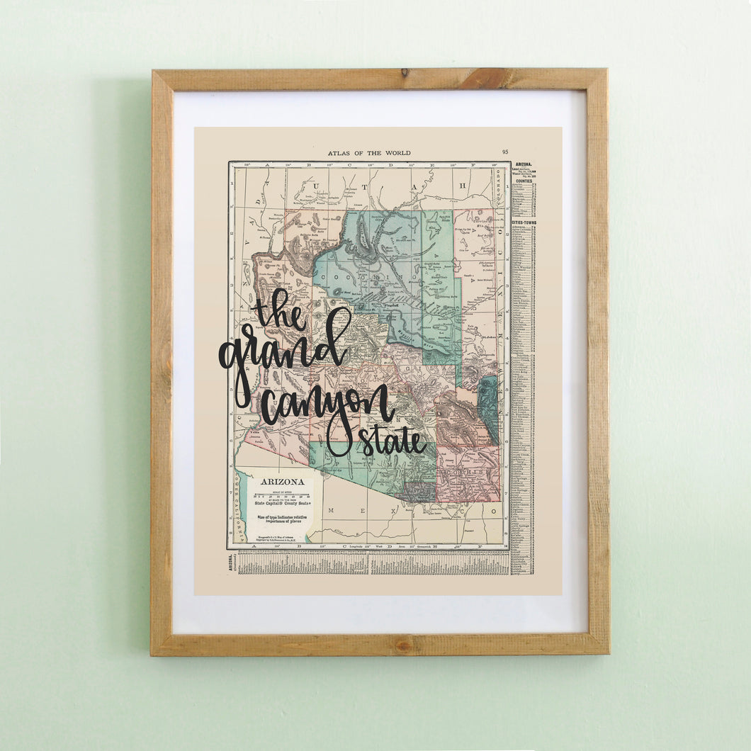 Vintage Arizona State Map Print