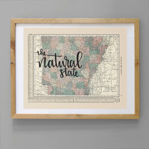 Vintage Arkansas State Map Print
