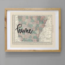 Load image into Gallery viewer, Vintage Arkansas State Map Print