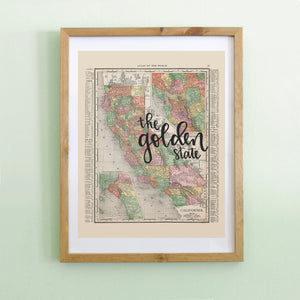 Vintage California State Map Print
