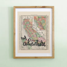 Load image into Gallery viewer, Vintage California State Map Print