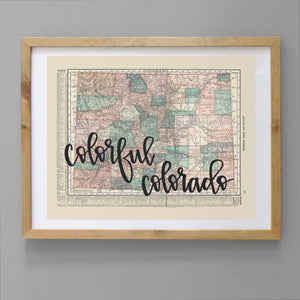 Vintage Colorado State Map Print