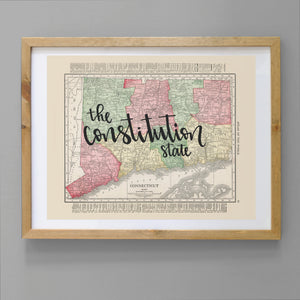 Vintage Connecticut State Map Print
