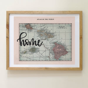Vintage Hawaii State Map Print