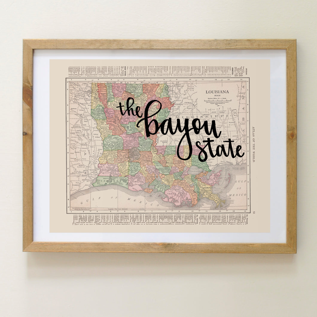 Vintage Louisiana State Map Print