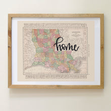 Load image into Gallery viewer, Vintage Louisiana State Map Print