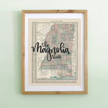 Load image into Gallery viewer, Vintage Mississipi State Map Print