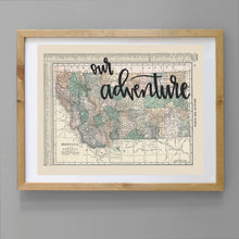 Load image into Gallery viewer, Vintage Montana State Map Print
