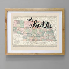 Load image into Gallery viewer, Vintage Nebraska State Map Print