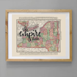 Vintage New York State Map Print