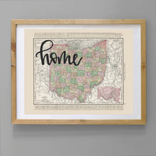 Load image into Gallery viewer, Vintage Ohio State Map Print