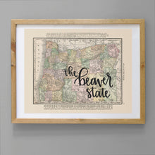 Load image into Gallery viewer, Vintage Oregon State Map Print