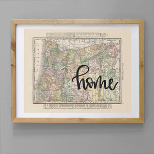 Vintage Oregon State Map Print