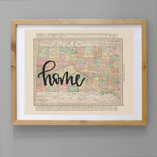 Load image into Gallery viewer, Vintage South Dakota State Map Print